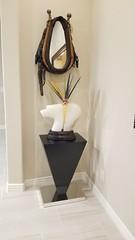 Black Gloss Laminate Image Pedestal on Chrome Laminate Base