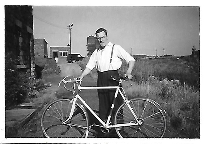 Woodyard Albert Knowles snr with the bike of Albert jnr