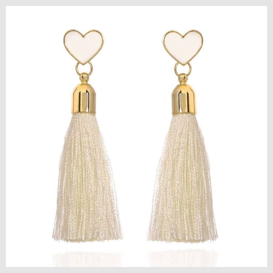 Galentine's Day Gifts For Your Friends to Shop | Wolf & Badger Heart White Tassel Earrings