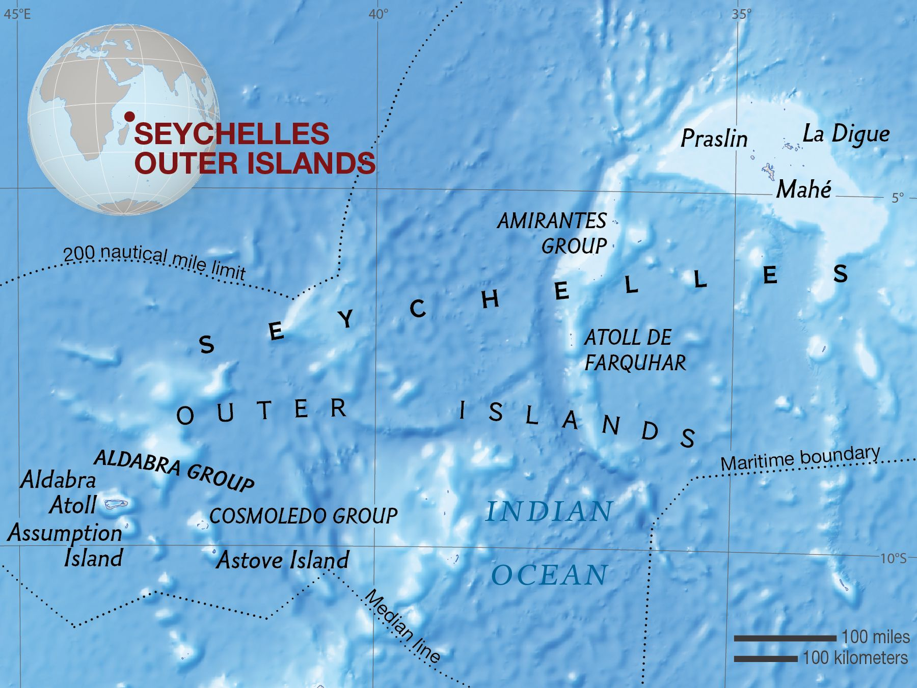 Map of The Seychelles Outer Islands (Zil Elwannyen Sesel).