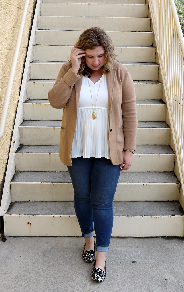 tan sweater blazer, cream peplum top, skinny jeans, black and white polka dot loafers 4