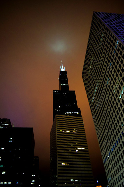 Sears Tower in a Foggy Night, Chicago, 2018