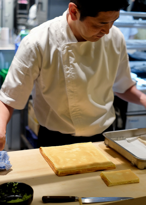 Chef Ryuichi Yoshii with his tamago at Fujisaki by Lotus at Barangaroo in Sydney