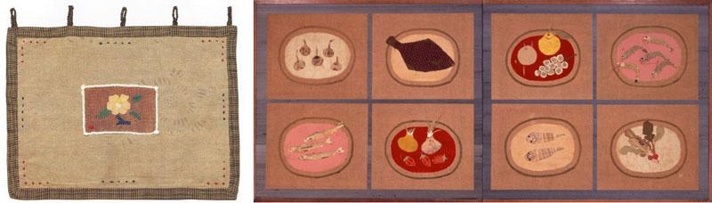 左)《椿》(1945年、個人蔵) 右)《思い出の布》(1953年、豊田市美術館蔵)