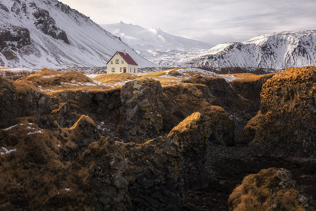 The White House, Mt. Stapafell, Arnarstapi, Snæfellsnes Peninsula, West Iceland