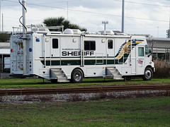Tampa Bay Hillsborough County Sheriff Command Truck For Sant' Yago Knight Parade In Historical YBOR City