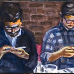 Texting Men; acrylic wash on paper, 22 x 30 in, 2017