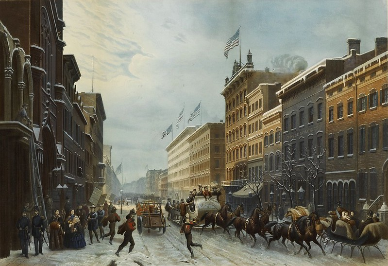 Paul Girardet - Winter Scene in Broadway (1857)