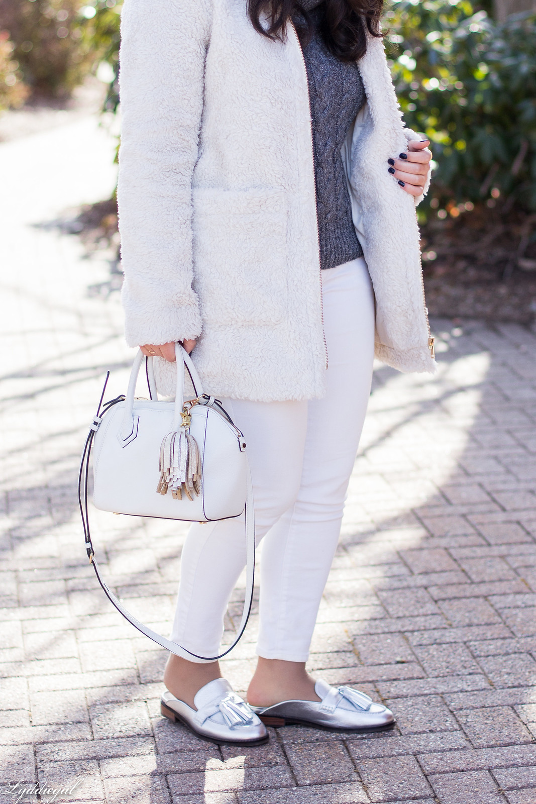 cream teddy coat, silver loafer mules, white denim, grey sweater-12.jpg