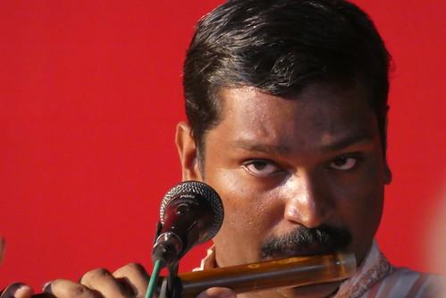India - Kerala - Thrissur - flautist