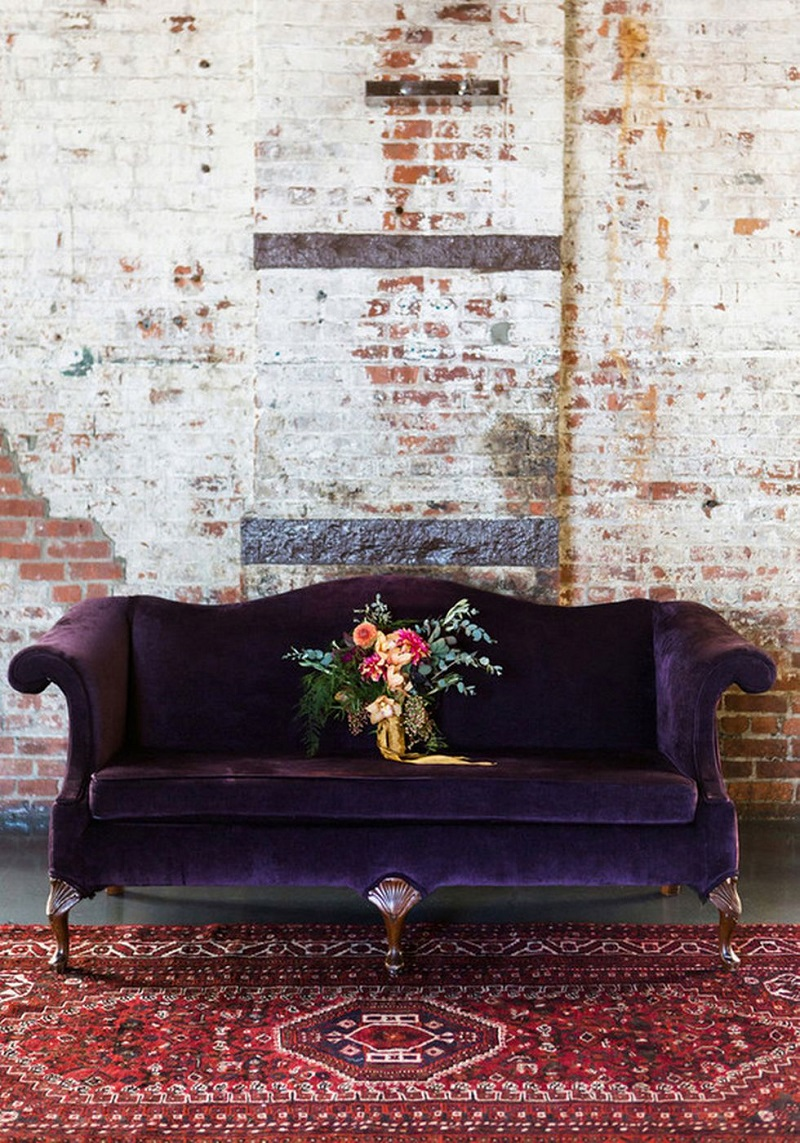 ultra violet decor decorating pantone color of the year 2018 purple velvet couch sofa