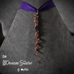 Corkscrewed Amethyst - Gemstone and Woven Copper Wire Necklace