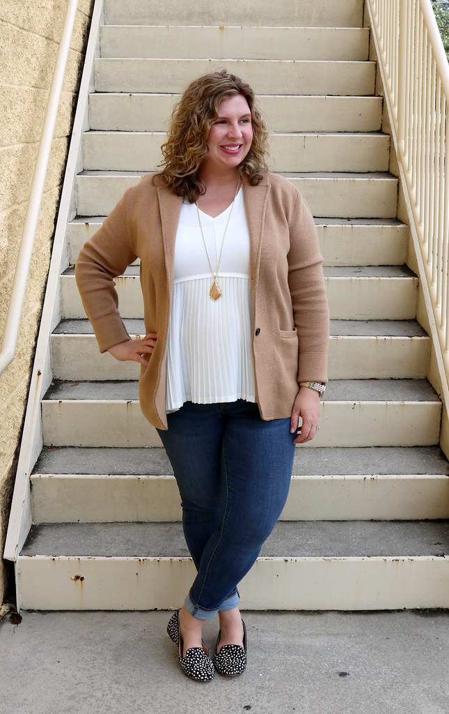 tan sweater blazer, cream peplum top, skinny jeans, black and white polka dot loafers 6