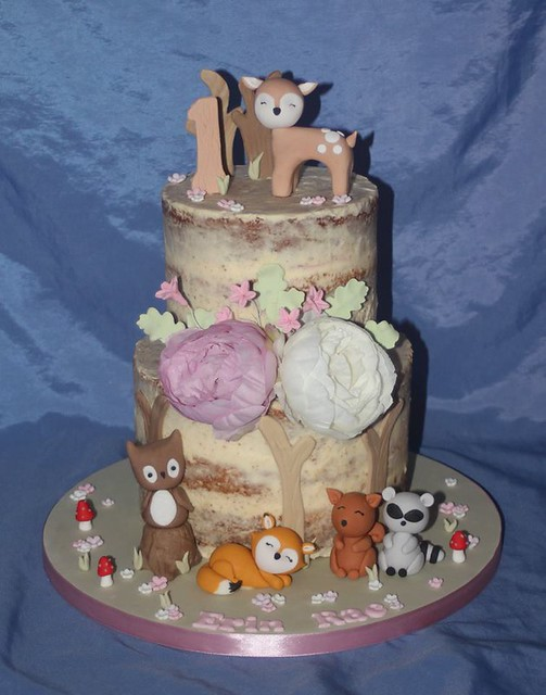 Semi-Naked Woodland Themed Cake by thenoveltycake.com