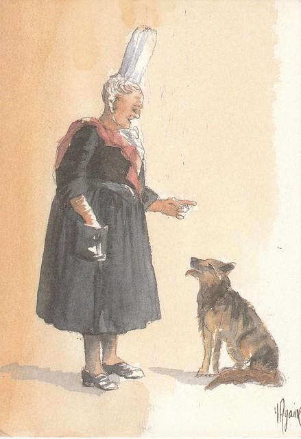 Bigoudène et son chien - aquarelle d'Yves Agaisse