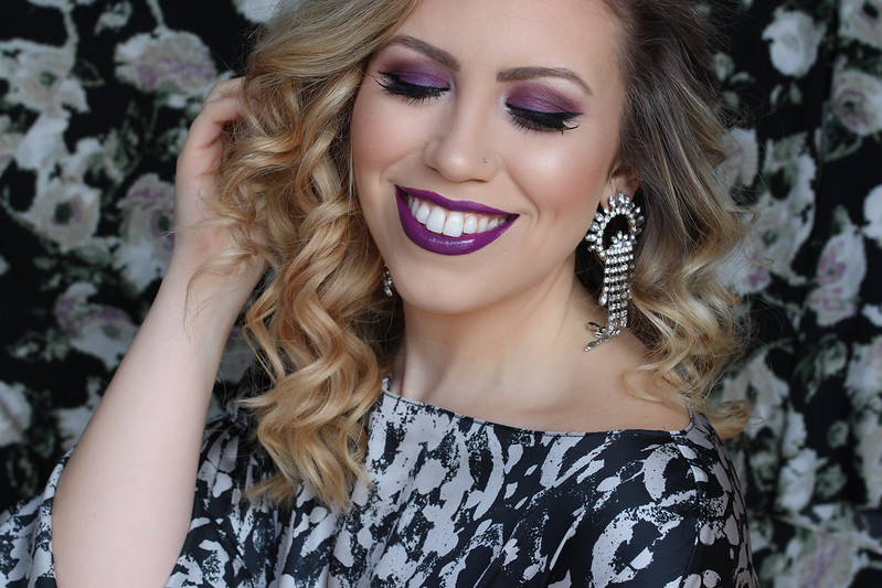Ultra Violet Purple Eyeshadow Bright Purple Glossy Lipstick Makeup Tutorial