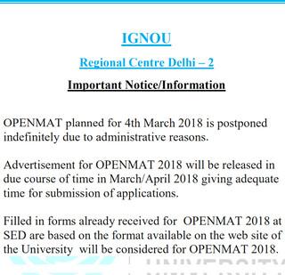 OPENMAT 2018 Notification