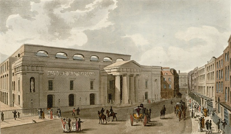 Rudolph Ackermann - Theatre Royal, Covent Garden, from Bow Street (1816)