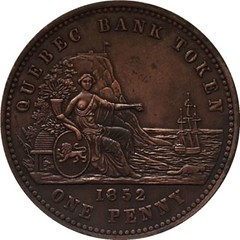 Fake 1852 one-penny Quebec Bank Token