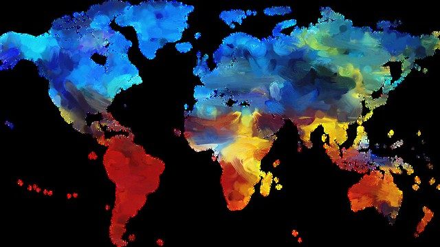 Colourful map of the world