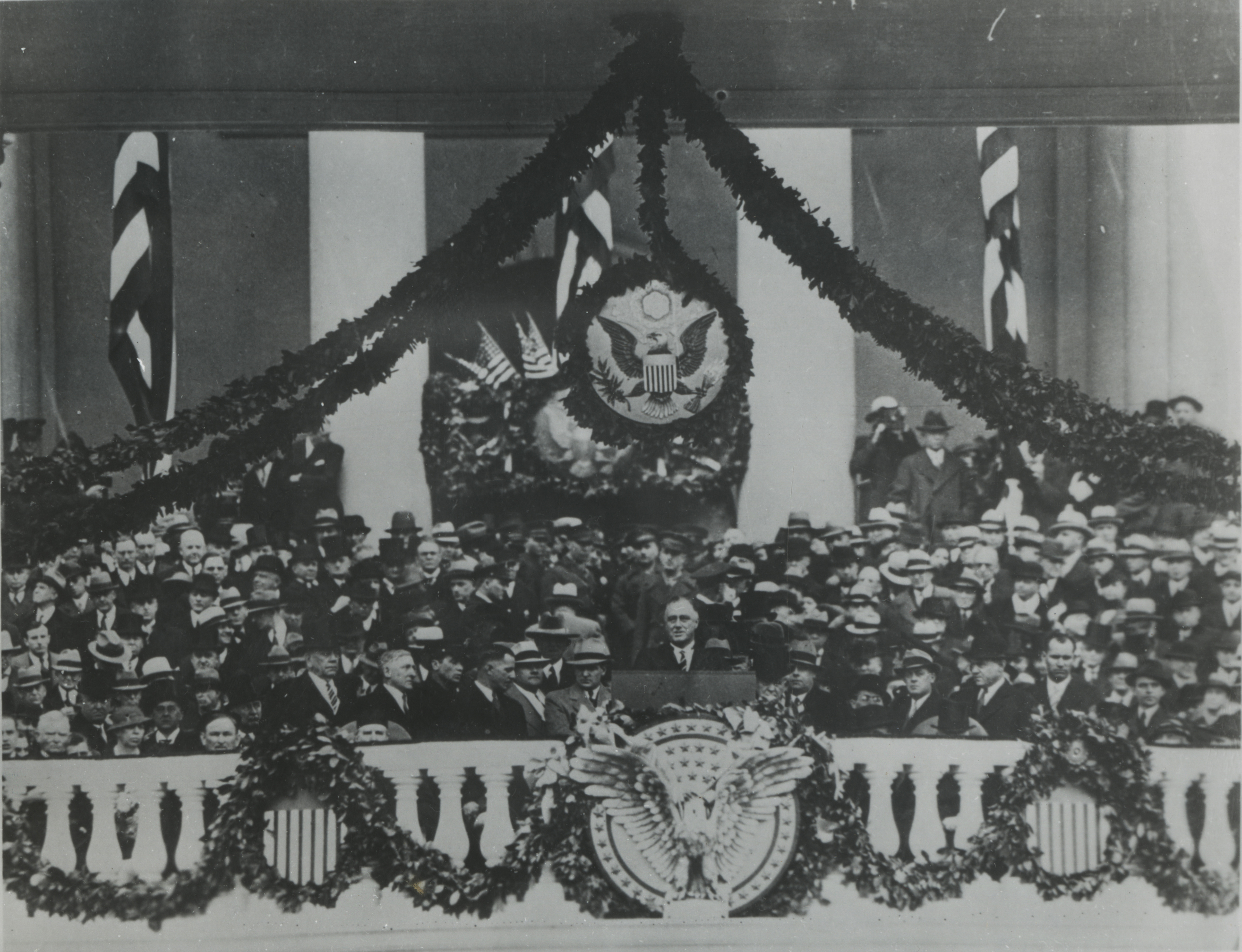 Franklin Delano Roosevelt is inaugurated as the 32nd President of the United States at the U.S. Capitol in Washington, D.C., March 3, 1933.