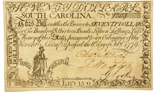 South Carolina $70 note front