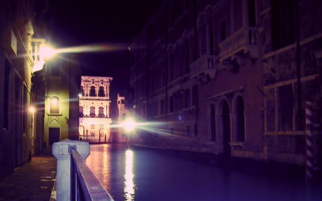 Venetian channel by night