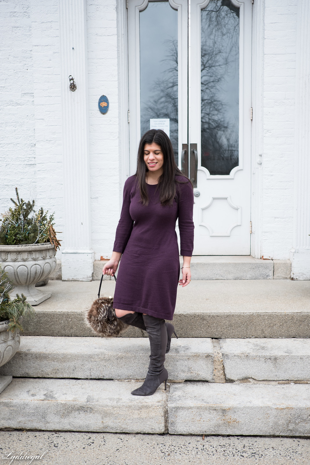 burgundy sweater dress, over the knee boots.jpg
