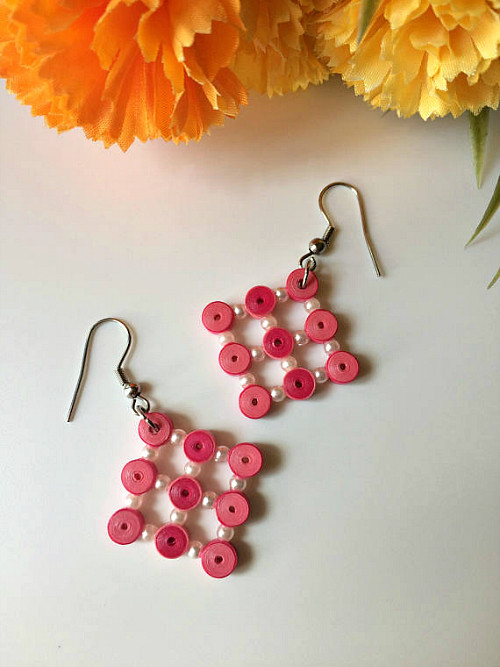 Quilled Earrings with Beads