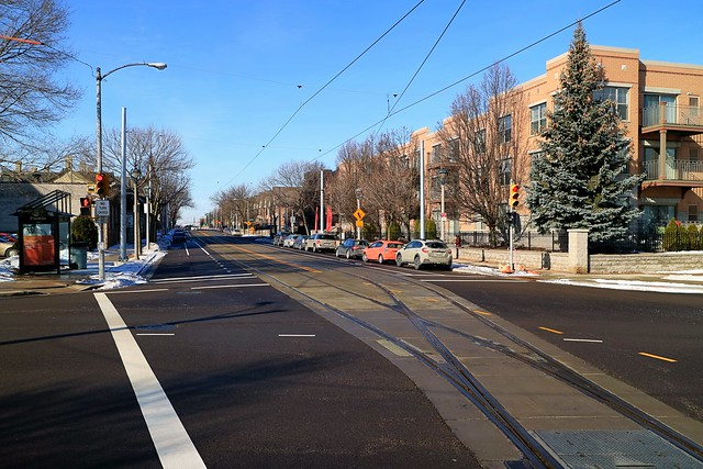 Milwaukee Streetcar tracks at East Ogden and North Franklin Place