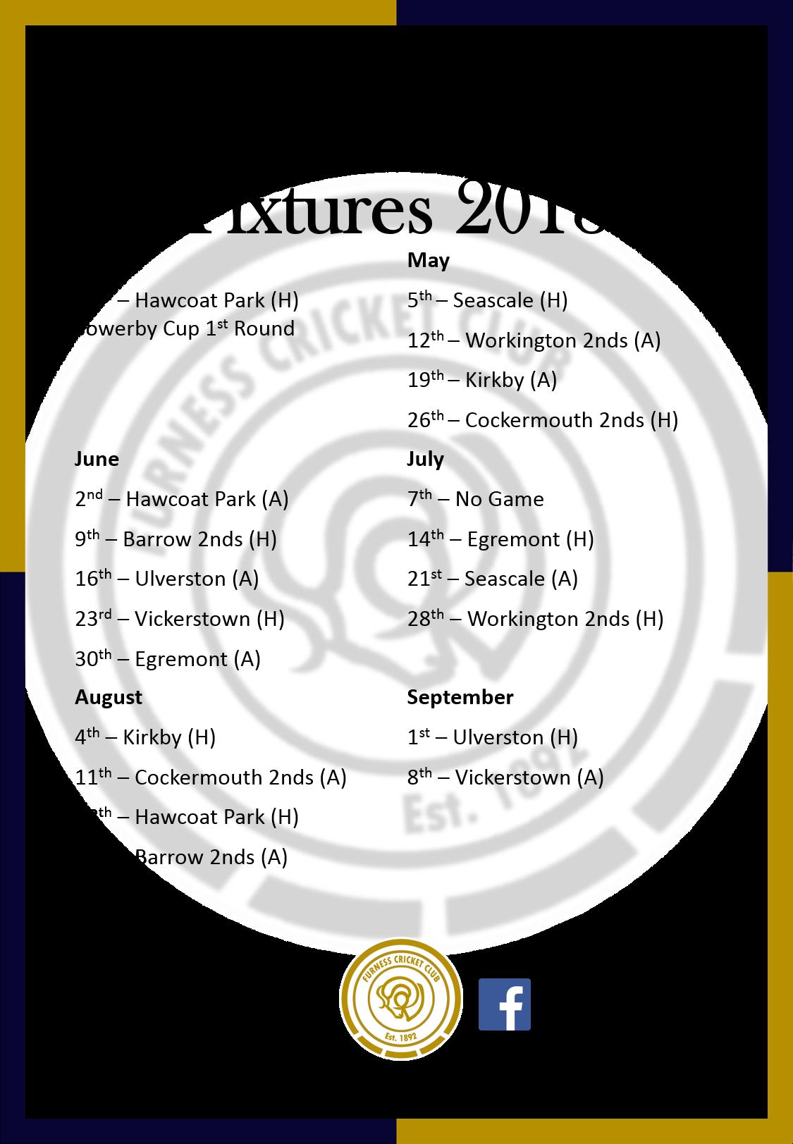 2nd XI Fixtures 2018
