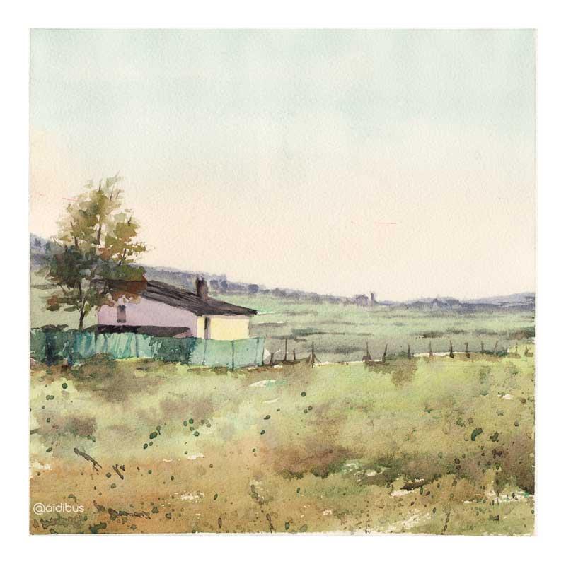 campo-casa-árbol y valla
