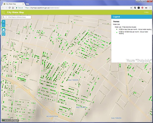 The City of Cape Town's water map shows the water usage of households around Cape Town.