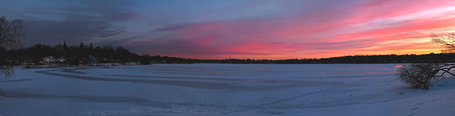 sunset over frozen lake quannapowitt; wakefield, massachusetts