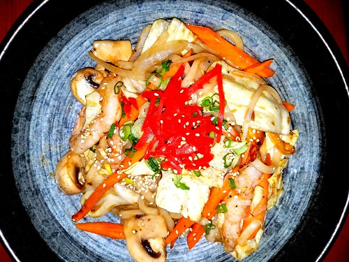 Yakiudon with Shrimp