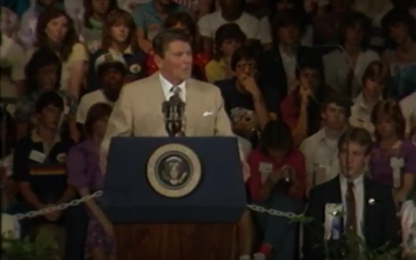 President Ronald Reagan addressing the National Conference of the National Association of Student Councils at my school, Shawnee Mission Northwest High School in Shawnee, Kansas, on June 29, 1982. I attended school there, and was a member of the U.S. Naval Junior Reserve Officer's Training Corps unit based there from 1982 until graduation in 1984.
