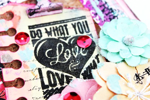 Meihsia Liu Simply Paper Crafts Mixed Media Love Note Card Simon Says Stamp Monday Challenge Tim Holtz Prima Flowers 3