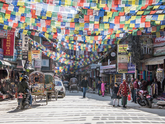 prayer flags in Thamel
