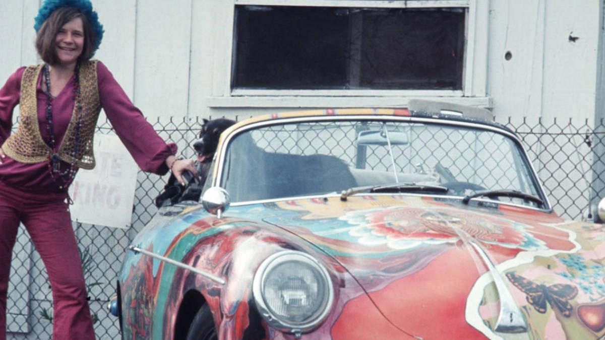 Janis Joplin and her Porsche.