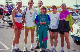 Helmut, Karlheinz, Traugott, Heide, Gisela, Klaus, Nürburgring-Lauf 14.10.1990