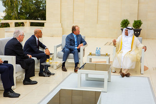 John Chambers with Sheikh Saud bin Saqr Al Qasimi