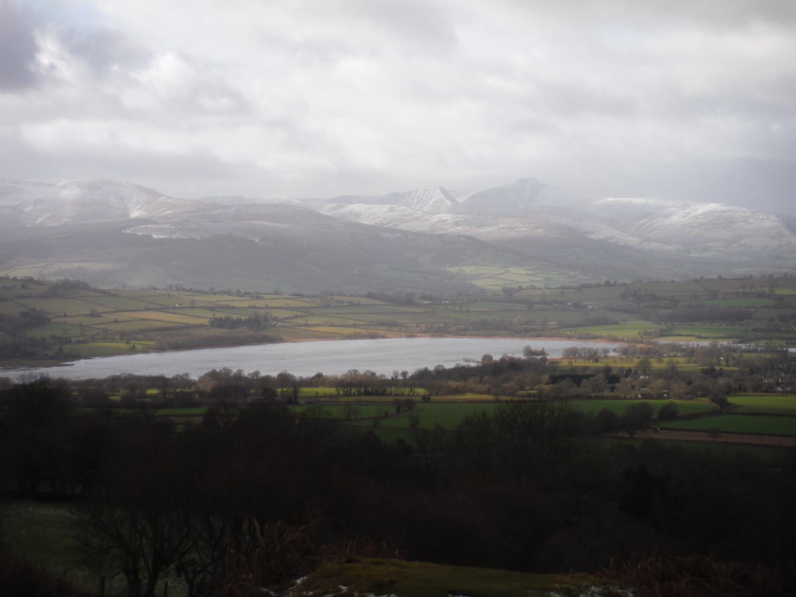 Lake Llangorse and Central Beacons from Mynydd Llangorse SWC Walk 308 - Bwlch Circular (via Mynydd Troed and Llangorse Lake)