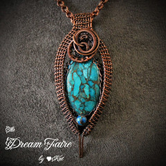 Into the Blue - Turquoise and Woven Copper Wire Necklace