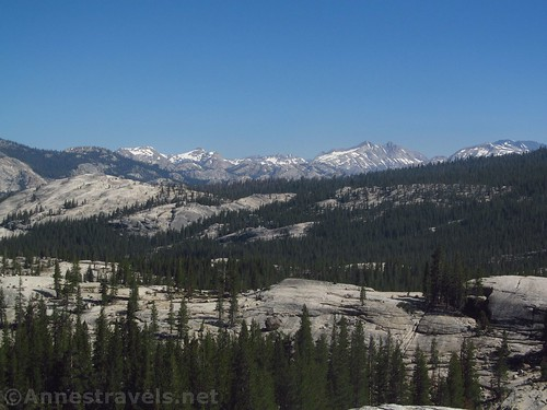 Views north from Pothole Dome - Quarry Peak, Finger Peaks, and Whorl Mountain - Yosemite National Park, California