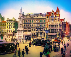 Digital Pastel Drawing of Amsterdam's Dam Square by Charles W. Bailey, Jr.