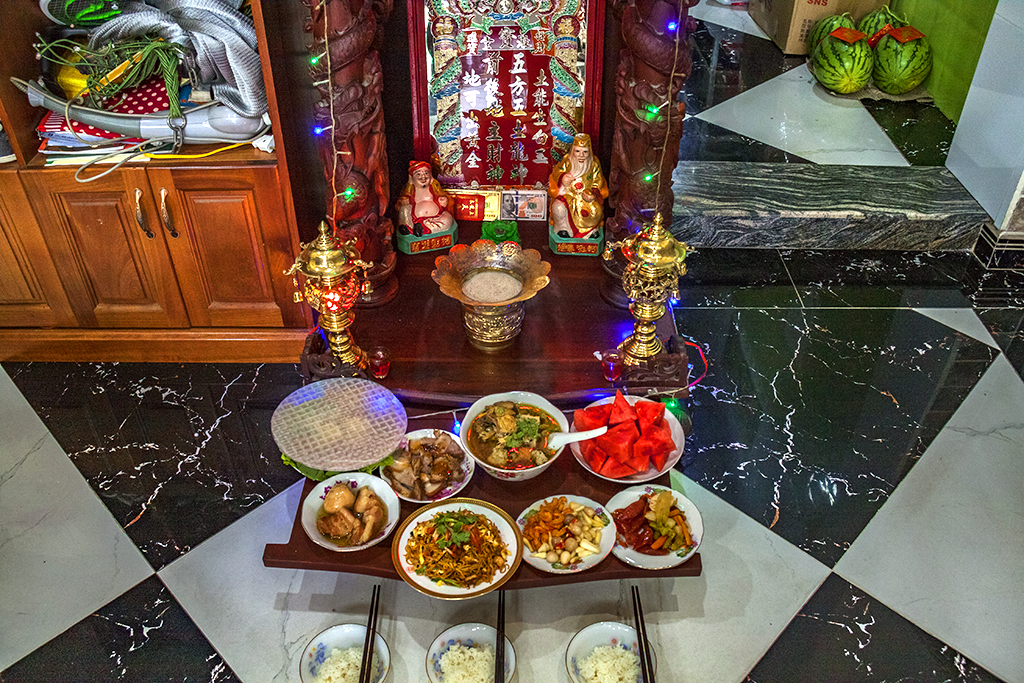 Offerings to God of the Soil and God of Wealth--Saigon