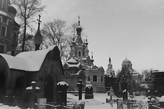 Winter. The necropolis of the Donskoy Monastery.