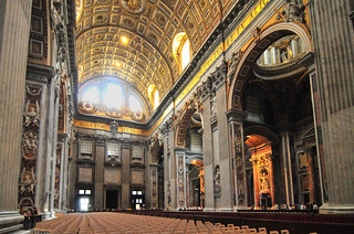 Inside the vast St Peter's Basilica.