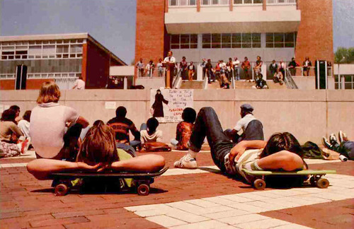 """Students go """"on strike"""" to oppose campus administration in the late 1970s."""