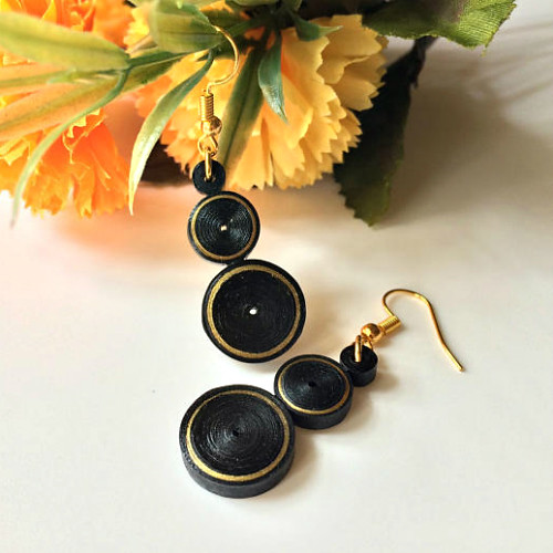 Quilled Black and Gold Earrings